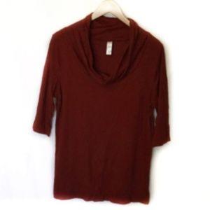 Merona Cowl Neck Top Size L Half Sleeve Red Rust